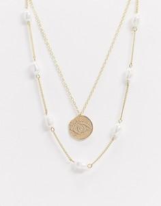 Золотистое ожерелье из цепочек с искусственным жемчугом и подвеской-монетой Pieces-Золотой