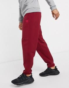 Бордовые зимние джоггеры с 3 полосками adidas Originals-Красный