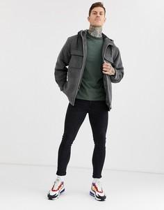Серая куртка с подкладкой из искусственного меха ASOS DESIGN-Серый