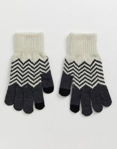 Вязаные перчатки для сенсорных экранов с шевроновым узором French Connection-Черный