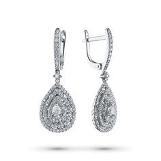 Серьги из белого золота с бриллиантами э09с031955 ЭПЛ Якутские Бриллианты