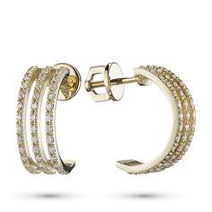 Пусеты из желтого золота с бриллиантом п03с021442 ЭПЛ Якутские Бриллианты