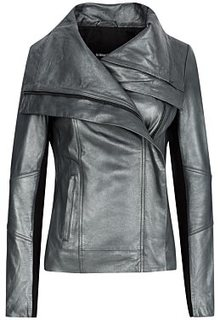 Кожаная куртка с трикотажной отделкой La Reine Blanche