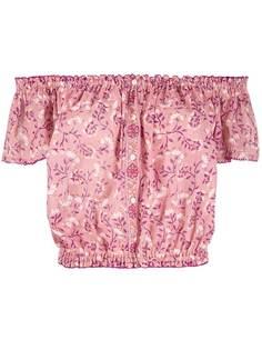 Poupette St Barth блузка с открытыми плечами и цветочным принтом