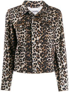 Ganni джинсовая куртка с леопардовым принтом