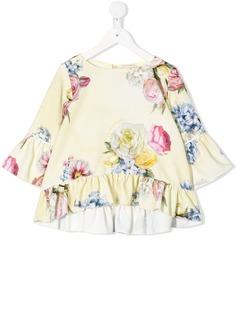 Monnalisa блузка с оборками и цветочным принтом
