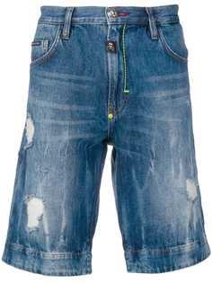 Philipp Plein джинсовые бермуды Skull