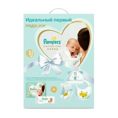 Подарочный набор Pampers подгузники+влажные салфетки+носочки+шапочка+нагрудник (0-5 кг) шт.