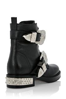 Кожаные ботинки с декоративными ремнями Philipp Plein
