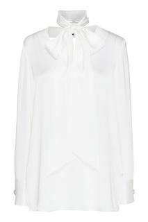 Белая атласная блуза с шарфом St. John