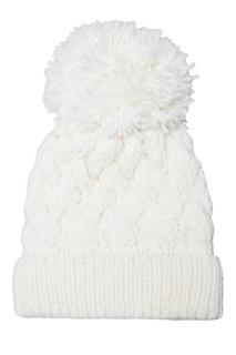 Белая шапка с узором и помпоном Blank.Moscow