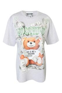 Серая футболка из хлопка с принтом Dollar Teddy Bear Moschino