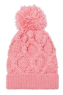 Розовая шапка с узором и помпоном Blank.Moscow