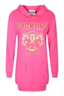 Розовое платье из хлопка с принтом и капюшоном Moschino