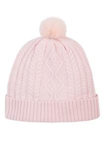 Вязаная розовая шапка с меховым помпоном MAX & MOI
