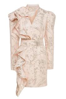 Золотисто-розовое жаккардовое платье Ulyana Sergeenko