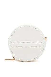 Круглая кожаная мини-сумка белого цвета Leather Like Wood
