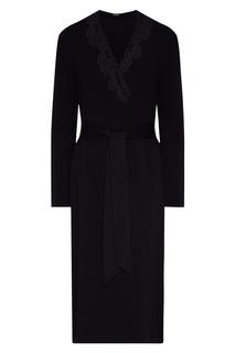 Черный трикотажный халат с кружевом La Perla