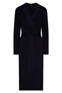 Темно-синий халат с поясом La Perla