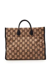 Шерстяная сумка-тоут с монограммами GG Gucci