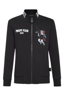 Черная куртка с крупным принтом Philipp Plein