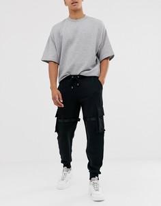 Джоггеры в стиле милитари с карманами и ремешками ASOS DESIGN-Черный