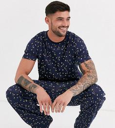 Новогодняя пижама из футболки и брюк с принтом гирлянд Loungeable-Серый