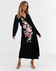 Платье миди с длинными рукавами и вышивкой ASOS DESIGN-Черный