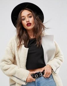 Фетровая шляпа с плетеным ремешком ASOS DESIGN-Черный