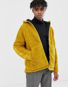 Плюшевая куртка горчичного цвета на молнии ASOS DESIGN-Желтый