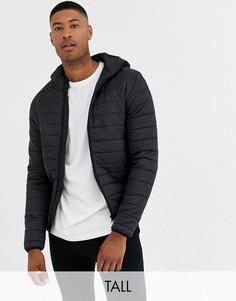 Черная дутая куртка с капюшоном Brave Soul Tall-Черный