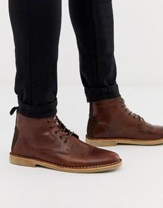 Светло-коричневые кожаные ботинки чукка с замшевой отделкой ASOS DESIGN-Светло-коричневый