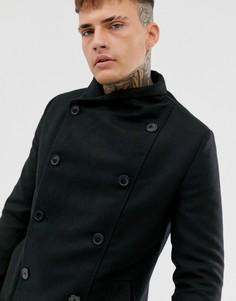 Черное двубортное пальто с высоким воротником и карманами Religion-Черный