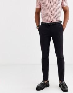 Черные супероблегающие брюки с темно-бордовым отливом Topman-Красный