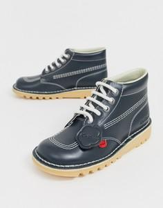 Темно-синие высокие кожаные ботинки Kickers Kick-Темно-синий