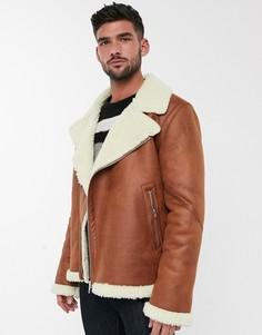 Коричневая байкерская куртка с плюшевой подкладкой ASOS DESIGN-Светло-коричневый