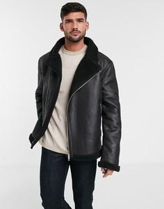 Черная байкерская куртка с плюшевой подкладкой ASOS DESIGN-Черный