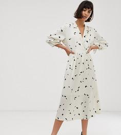 Платье миди с цветочным принтом Selected Femme-Бежевый