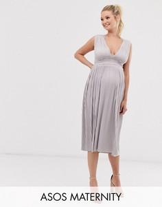 Плиссированное платье миди с кружевными вставками ASOS DESIGN Maternity-Розовый