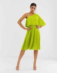 Плиссированное платье миди с кроп-топом на одно плечо ASOS DESIGN-Зеленый