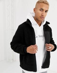 Черная плюшевая куртка с карманами ASOS DESIGN-Черный