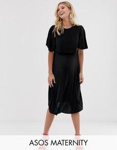 Платье миди для кормления с плиссированным кроп-топом ASOS DESIGN Maternity-Черный