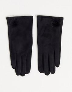 Перчатки из искусственной замши с помпоном Boardmans-Черный