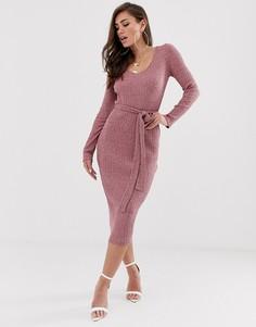 Платье миди в рубчик с поясом ASOS DESIGN-Красный