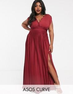 Плиссированное премиум-платье макси с кружевной отделкой ASOS DESIGN Curve-Красный