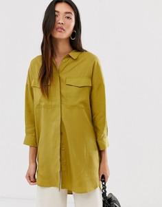 Тканая oversize-рубашка с карманами Selected Femme-Мульти