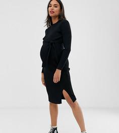 Черное платье макси с поясом New Look Maternity-Черный