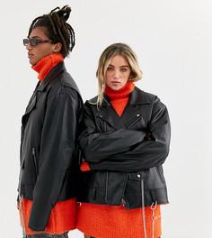 Черная байкерская oversize-куртка из искусственной кожи COLLUSION Unisex-Черный