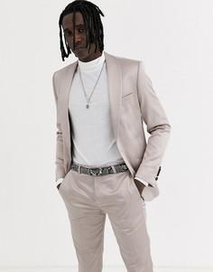 Приталенный пиджак-смокинг цвета шампанского Twisted Tailor-Кремовый