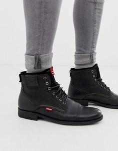 Черные кожаные ботинки Levis-Черный